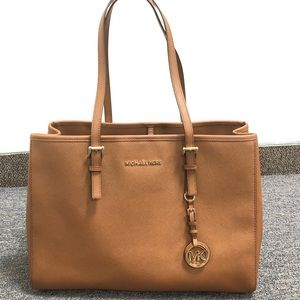 Michael Kors brown and gold large tote